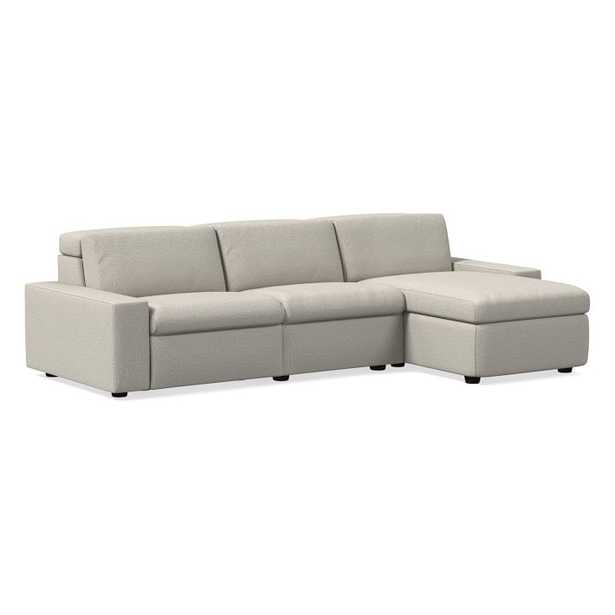 """Enzo Sectional Set 34: 8"""" Arm + 30"""" Single With Power + 30"""" Single Without Power + Storage Chaise + 8"""" Arm, Poly, Twill, Stone, Concealed Supports - West Elm"""