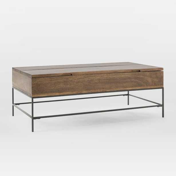 """Industrial Storage Coffee Table, 50""""x26"""",Mango Wood + Metal - West Elm"""