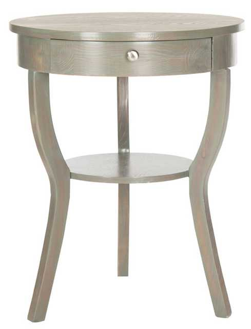 Kendra Round Pedestal End Table W/ Drawer - French Grey - Arlo Home - Arlo Home