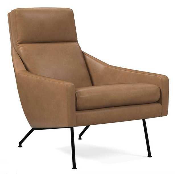 Austin Chair, Ludlow Leather, Sesame, Dark Pewter - West Elm