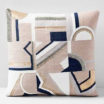 """Embellished Deco Mix Pillow Cover, 18""""x18"""", Dusty Blush - West Elm"""