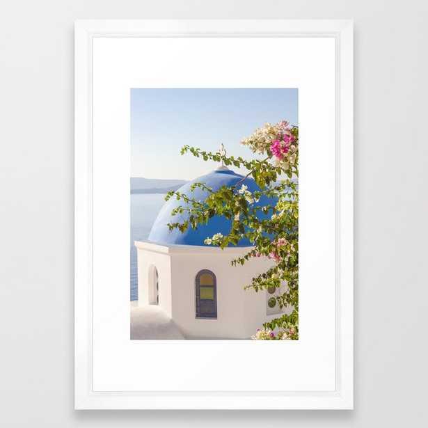 "Flowers in Santorini - 15"" x 21"" - vector white - Society6"