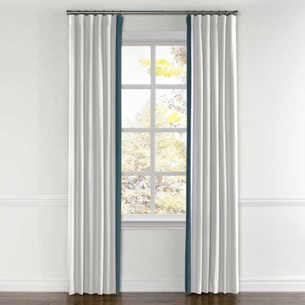 "Convertible Drapery, Lush Linen - White, Leading Edge Border - Lush Linen Midnight, 66""x176"", Split Draw - Loom Decor"