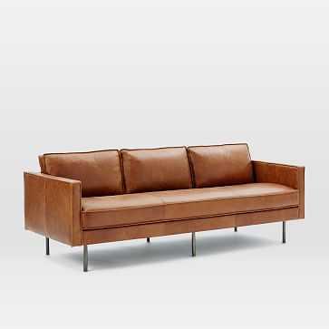 """Axel 89"""" Sofa, Leather, Saddle - West Elm"""