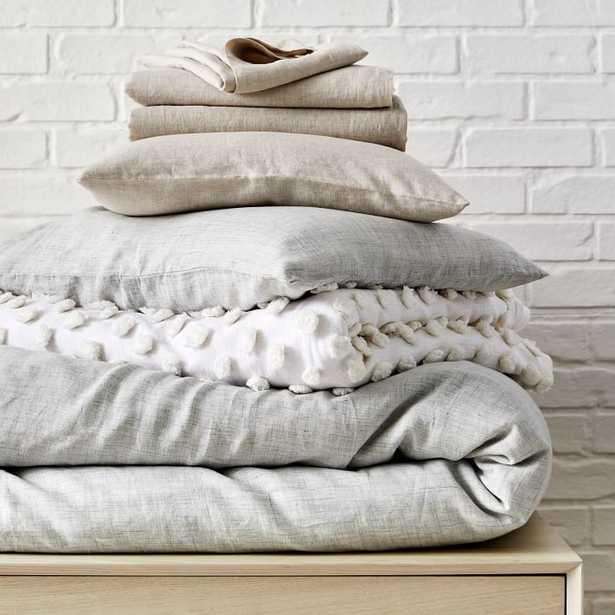 Frost Gray Belgian Flax Linen Fiber Dyed Bedding Look Set, King - West Elm