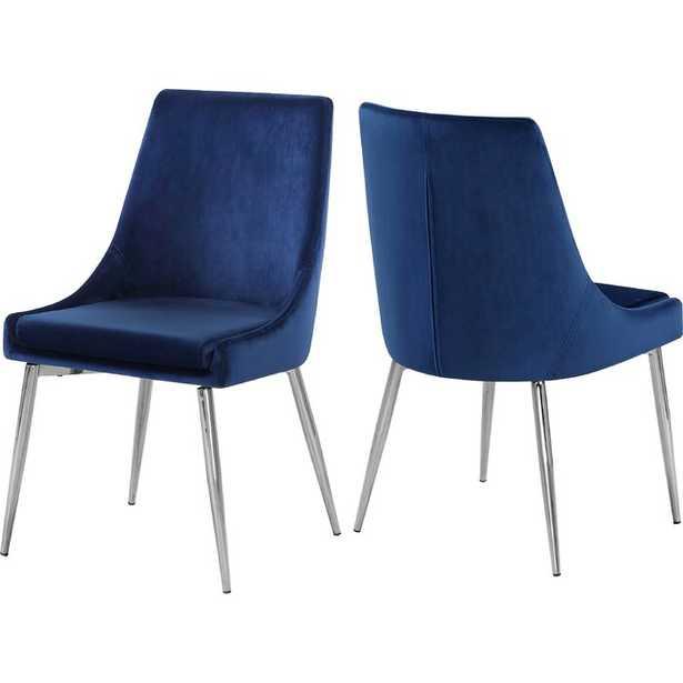 Navy Karina Upholstered Dining Chair (Set of 2) - Wayfair