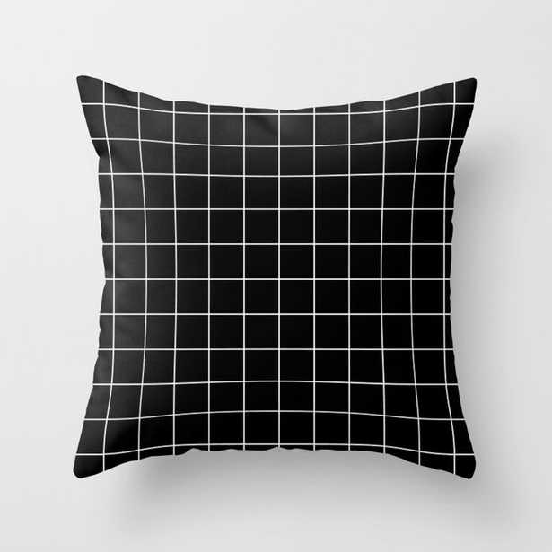 Indoor Grid Pattern Line Stripe Black and White Minimalist Geometric Stripes Lines Throw Pillow - Society6