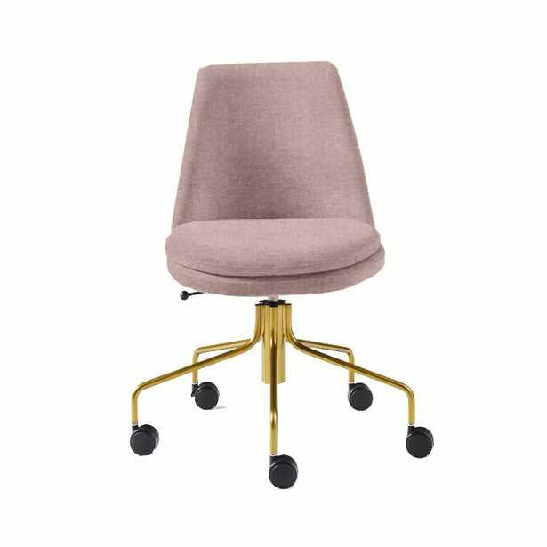 Finley Office Chair, Distressed Velvet, Light Pink - West Elm