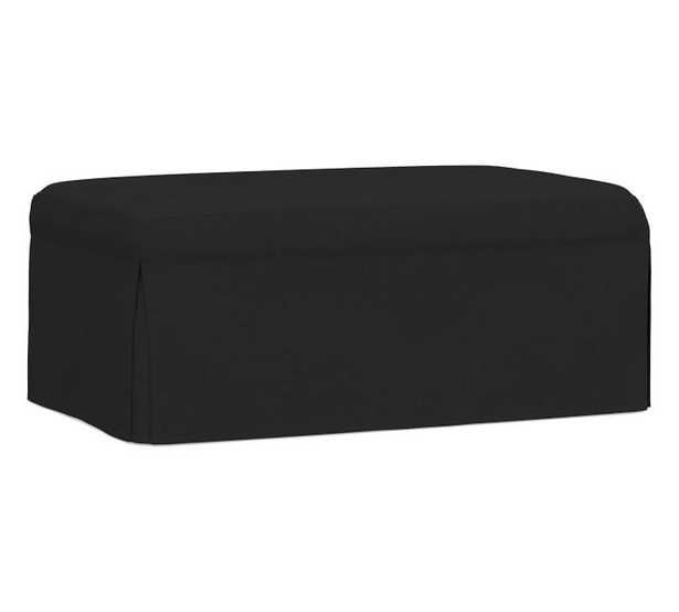 Sullivan Slipcovered Deep Seat Ottoman, Down Blend Wrapped Cushions, Textured Basketweave Black - Pottery Barn