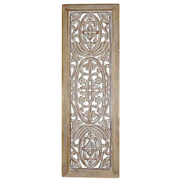 Rectangular Mango Wood Panel with Intricate Carving Wall Décor - Wayfair