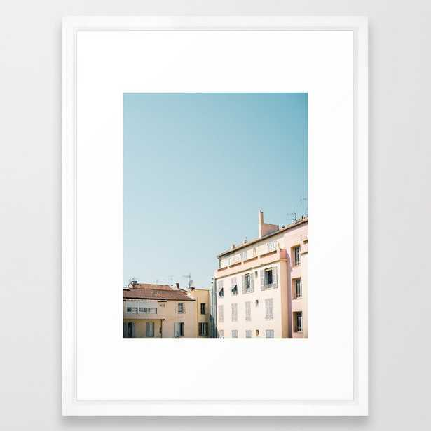"""Pretty pretty Cannes   Pastel colored apartment buildings in the South of France Framed Art Print, 20"""" x 26"""" - Society6"""