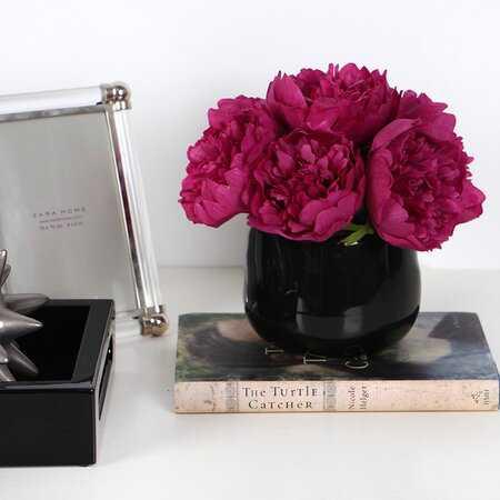 Peony Floral Arrangement in Vase - Wayfair