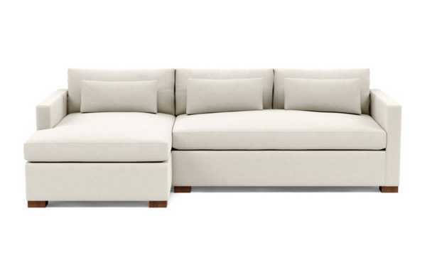 CHARLY Left Chaise Sectional - Chalk Heathered Weave - Interior Define