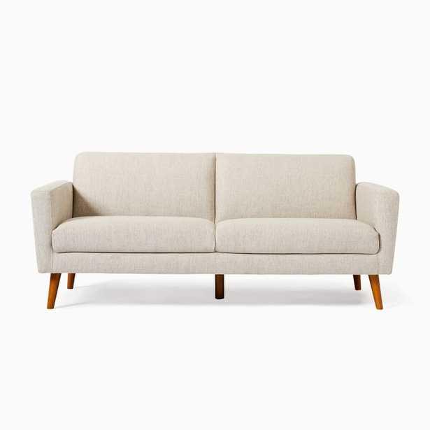 Oliver 2 Seater Sofa,Stone,Twill,Light Walnut - West Elm