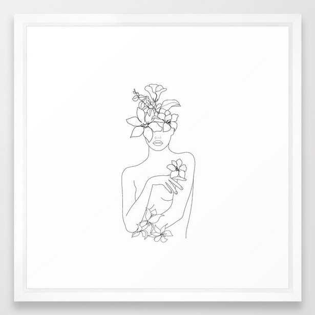 Minimal Line Art Woman with Flowers IV Framed Art Print - Society6