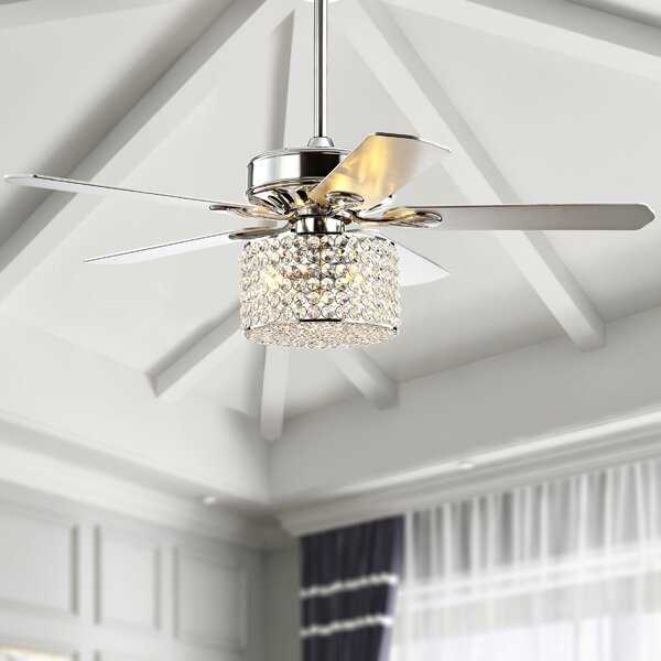 """52"""" Cayuga 5 Blade Ceiling Fan with Remote, Light Kit Included, chrome - Wayfair"""