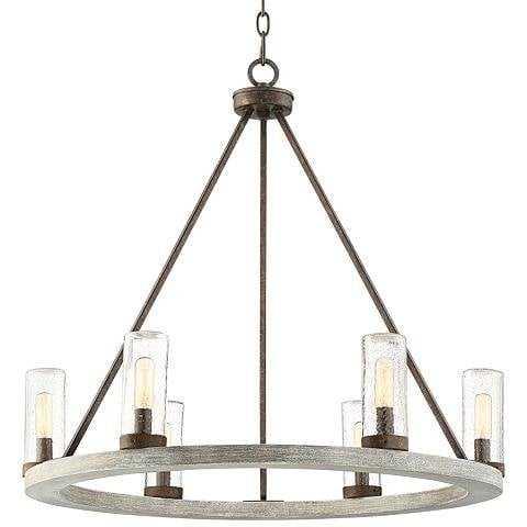 """Lillian 27"""" Wide Gray Wood Ring Wagon Wheel Chandelier - Lamps Plus"""