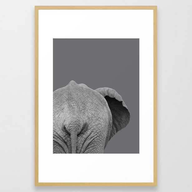 Elephant Wet Bum (Grey) Framed Art Print - Large - Society6