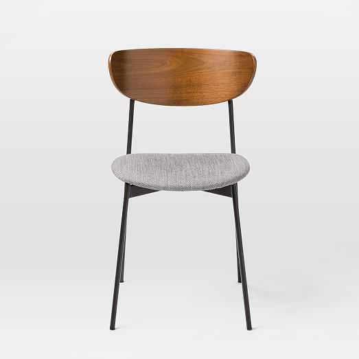 Modern Petal Upholstered Dining Chair, Storm Gray Basket Slub, Platinum, Antique Bronze - West Elm