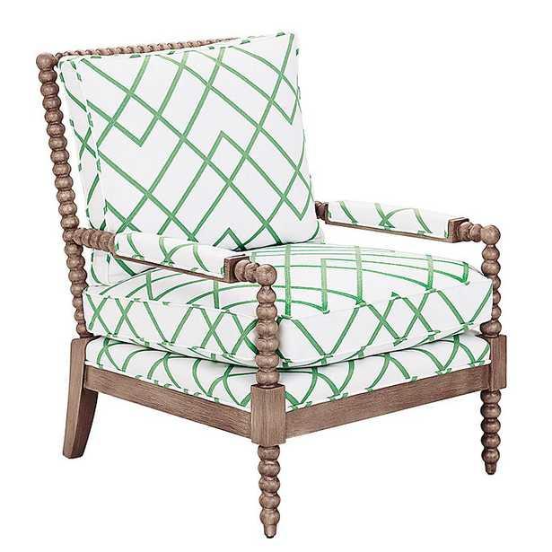 Shiloh Spool Chair in Imperial Trellis Green with Latte - Ballard Designs