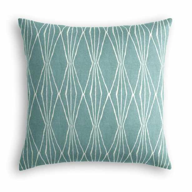 "Diamond Cotton Throw Pillow, Aqua, 18""x18"" /Square Cotton Pillow Cover and Insert - Loom Decor"