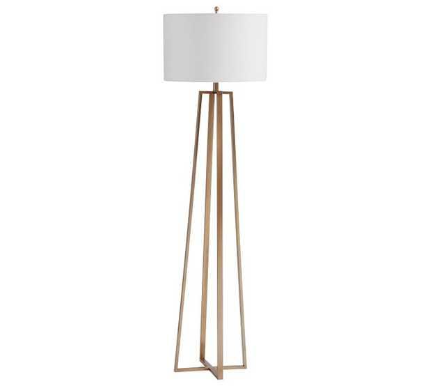 Carter Floor Lamp with Shade, Champange Brass - Pottery Barn