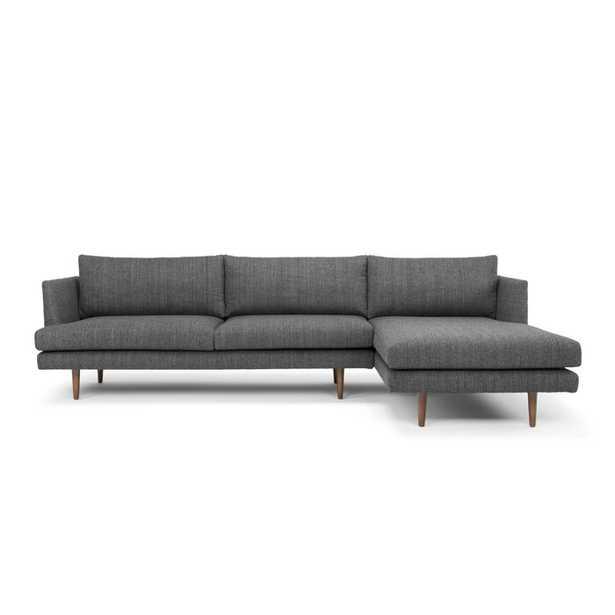 "112"" Sofa & Chaise - Venga Dark Gray Polyester Blend - Right  Hand Facing - Wayfair"