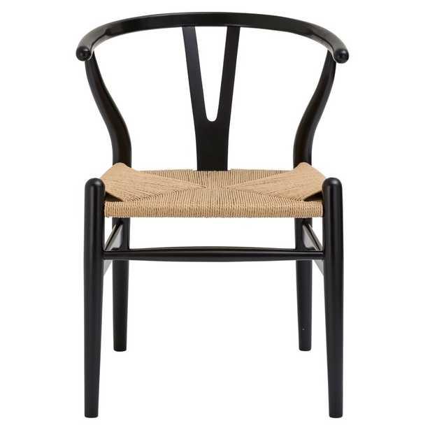 Mistana Dayanara Solid Wood Slat Back Dining Chair in Black - Wayfair