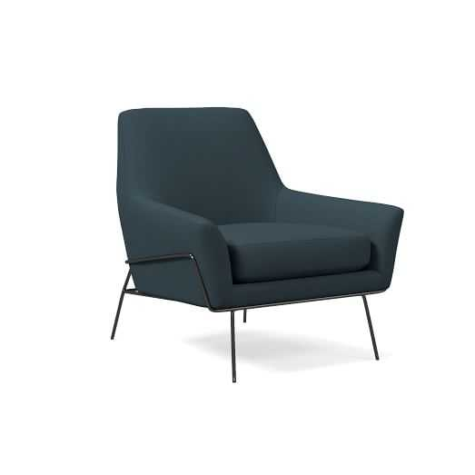 Lucas Wire Base Chair, Poly, Twill, Teal - West Elm