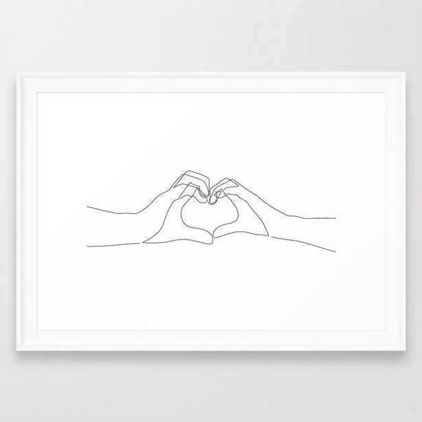 Hand Heart Framed Art Print, scoop white, 15 x 21 - Society6