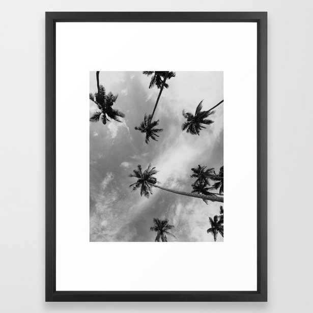Palm Trees Photography Black and White Framed Art Print - Society6