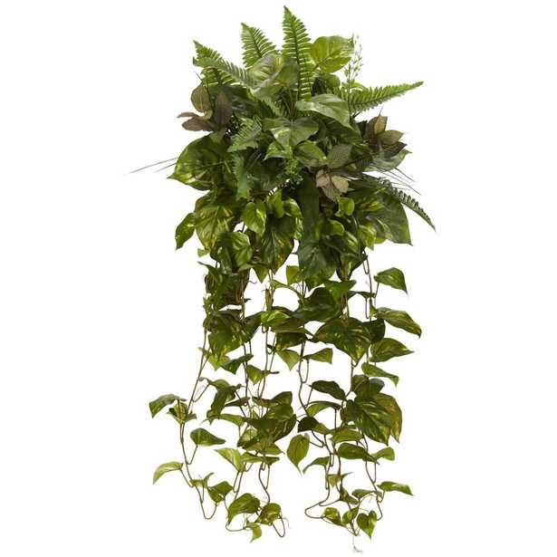 """36"""" Mixed Greens Hanging Artificial Plant (Set of 2) - Fiddle + Bloom"""