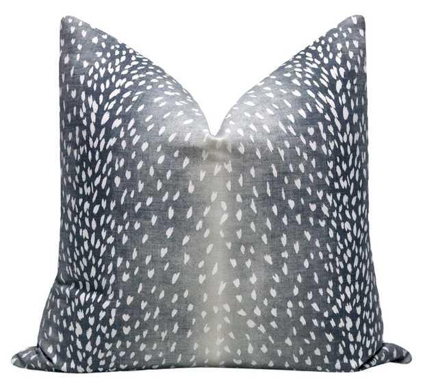 Antelope Linen Print Pillow Cover // Navy - 12x18 - Little Design Company
