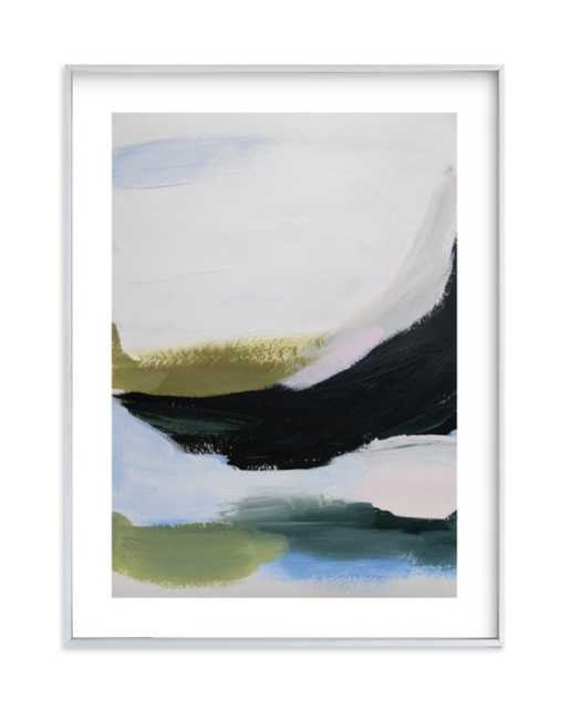 """Elemental layers FRAMED ART PRINT- 18"""" X 24"""" - Brushed Silver Frame- Standard Plexi & Materials- White Border - Minted"""
