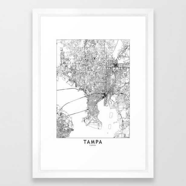 Tampa White Map Framed Art Print - Society6