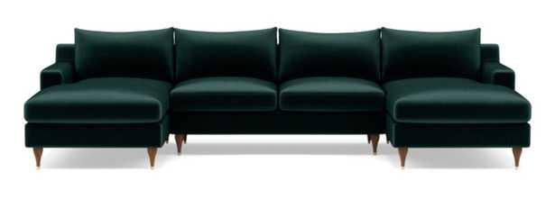 "Sloan U-Sectional // Malachite Mod Velvet // Oiled Walnut and Brass Cap Stiletto Leg // 133"" // Standard Chaise // 2 Cushions // Standard Down Blend - Interior Define"