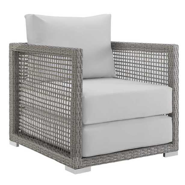 Aura Rattan Outdoor Patio Armchair in Gray White - Modway Furniture