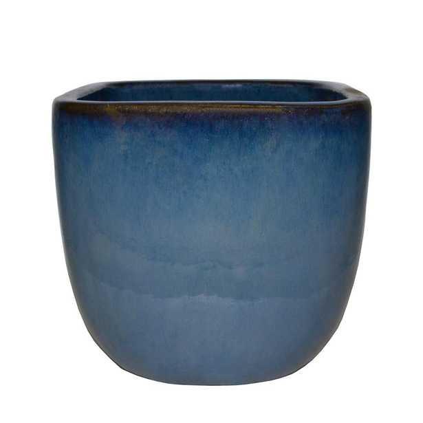 11.5 in. Dia. Blue Ceramic Lagos Square Pot - Home Depot