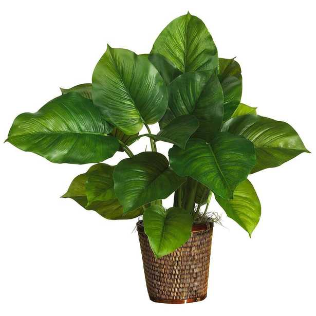 """29"""" Large Leaf Philodendron Silk Plant (Real Touch) - Fiddle + Bloom"""