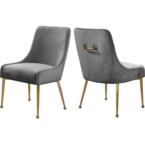Stovall Velvet Upholstered Side Chair - Set of 2 - Gray - Wayfair