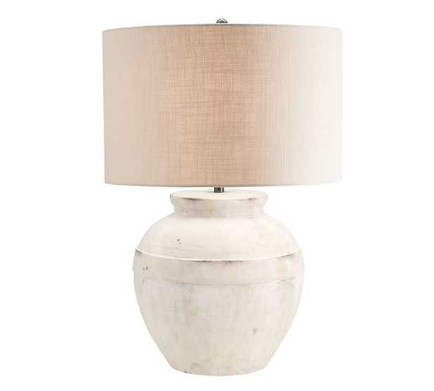 Faris Ceramic Table Lamp, white Base with Large Gallery Straight Sided Textured Shade, Sand - Pottery Barn