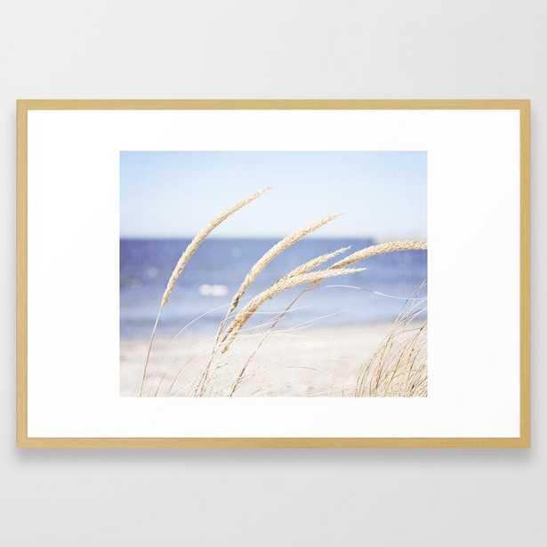 Beach Grass Blue Photography, Coastal Ocean Landscape, Sea Seashore Seascape Shore Framed Art Print - Society6
