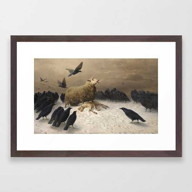 Anguish - August Friedrich Albrecht Schenck - Ravens and Sheep Framed Art Print - Society6