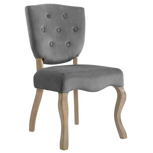 ARRAY VINTAGE FRENCH VELVET DINING SIDE CHAIR IN GRAY - Modway Furniture