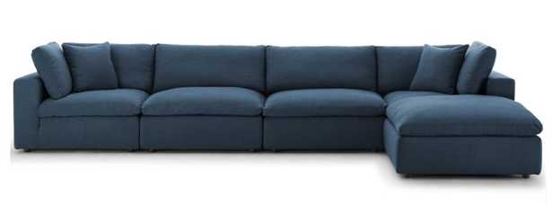 Commix Down Filled Overstuffed 5 Piece Sectional Sofa Set in Azure - Modway Furniture