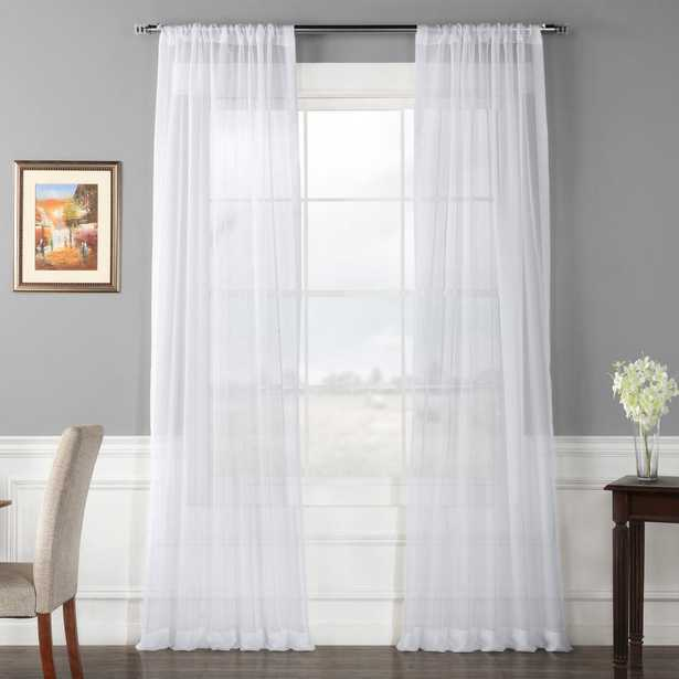 Exclusive Fabrics & Furnishings Solid White Voile Poly Sheer Curtain - 50 in. W x 96 in. L (2-Panel, pair) - Home Depot