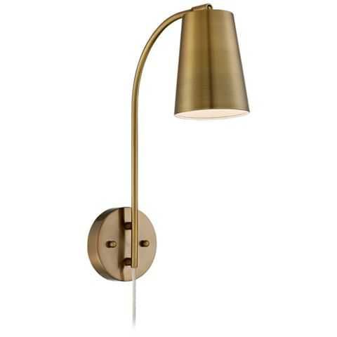 Sully Warm Brass Plug-In Wall Lamp - Lamps Plus