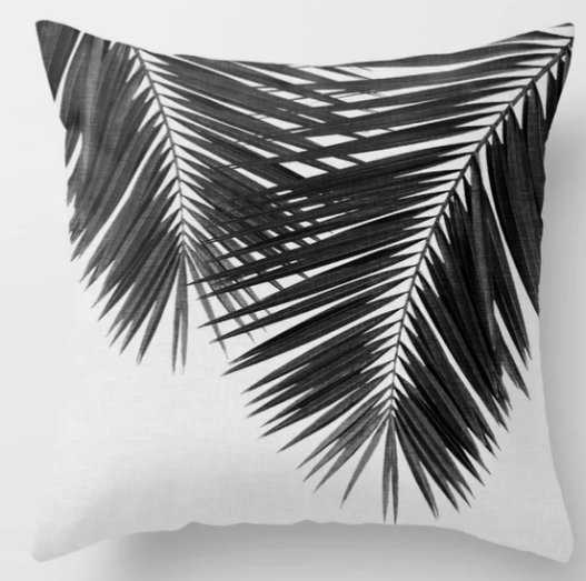 Palm Leaf Black & White II Throw Pillow (includes insert) - Society6