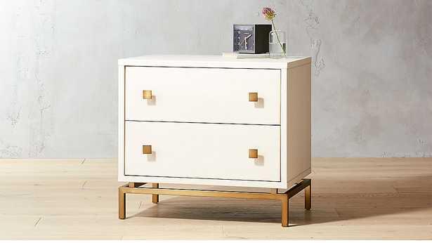 ivory shagreen embossed nightstand - CB2