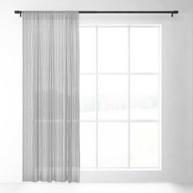 "Platinum Lines Never Fail - Dark Gray Sheer Curtain - 84""x50"" - Single Panel - Society6"
